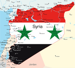 Map of Syria overlayed with image of Syrian Flag