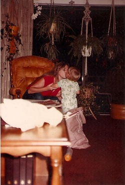 Nicky kissing Mommy, 1982