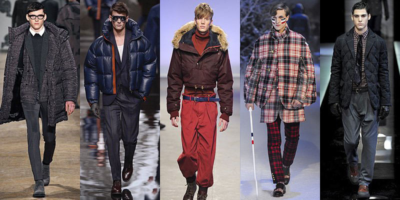 Men's Winter 2014 Fashion - coats, gloves, sweaters, hoods, pants, and lots of layers.