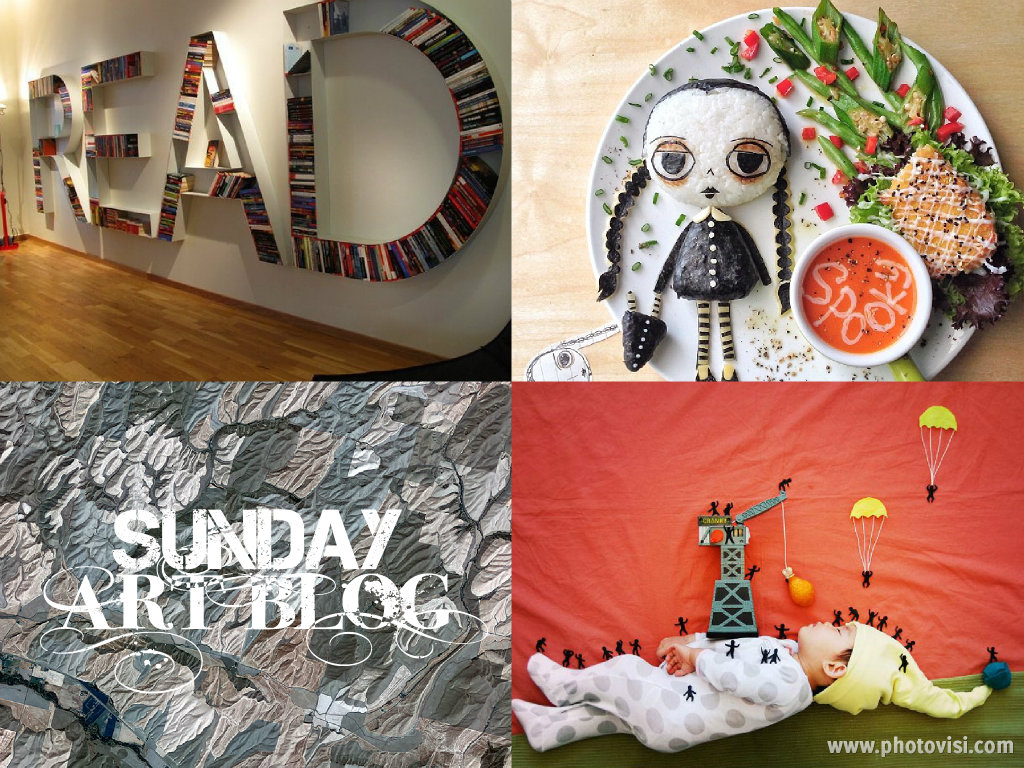 Sunday Art Blog for 10/27/13: A Literary Home, Kid's Food Art, Terrains from Space, Creative Naptime Adventures, and more!