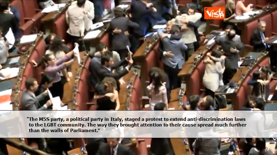 Italian Government Officials Embrace and Kiss Members of the Same Sex in Protest of Anti-Gay Statements