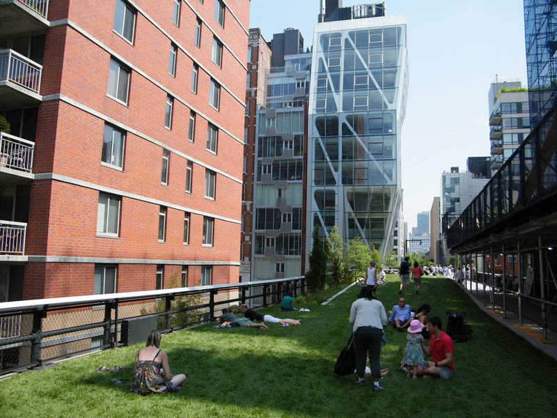 People enjoying the new High Line Park on New York City's West Side.