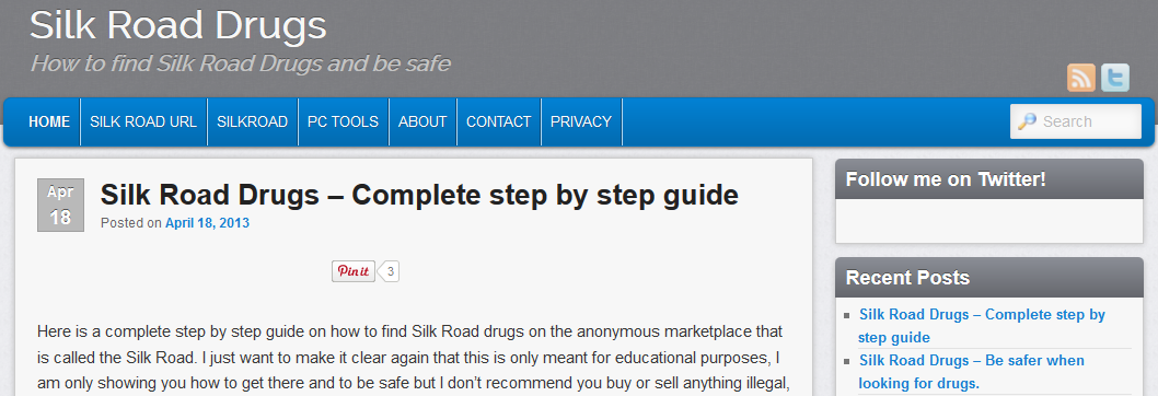 Silk Road: There's actually a website that lets you read how to find, buy, and sell drugs.