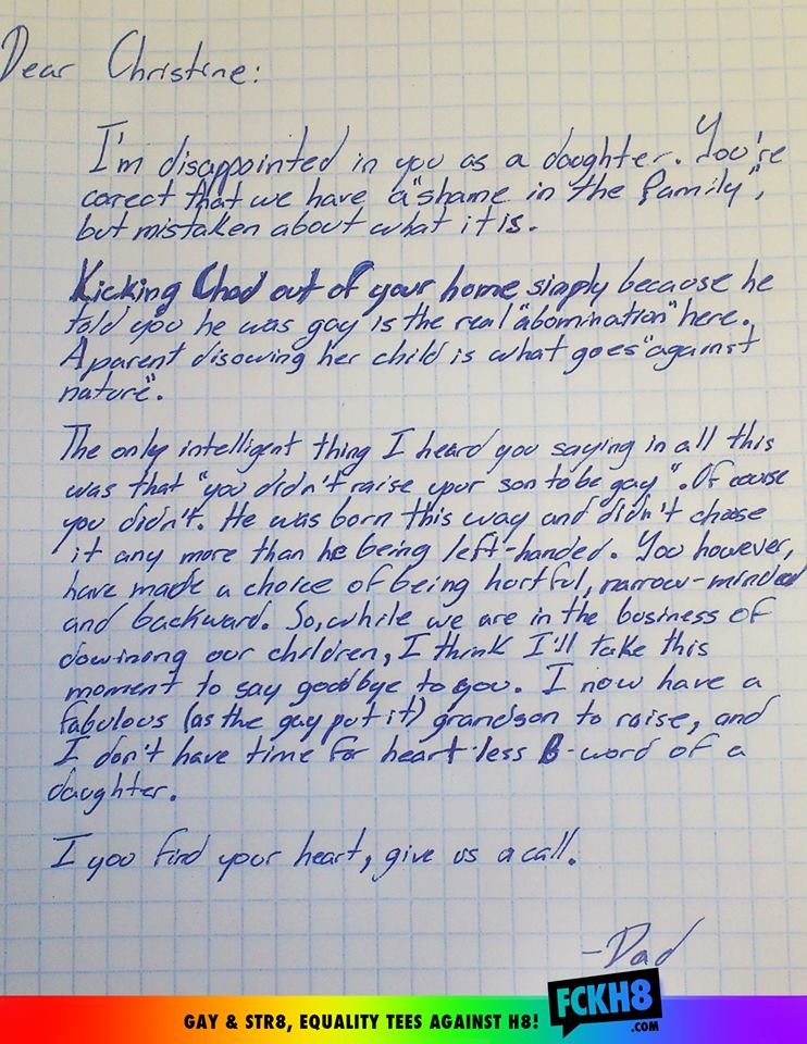 This is a letter from a grandfather to his daughter in defense of his gay grandson.