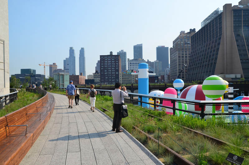 The High Line is a park developed by NYC's Department of Parks and Recreation as a solution to the problem of an abandoned elevated freight rail line.