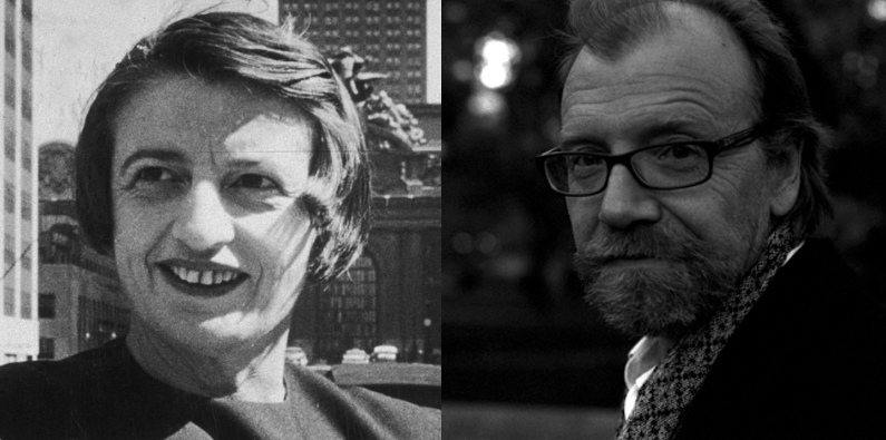 Pictured above: Ayn Rand and George Saunders.  As Ayn Rand's disciple, George Saunder's story of their intimacy leaves me with a creepy feeling about my one time heroine.